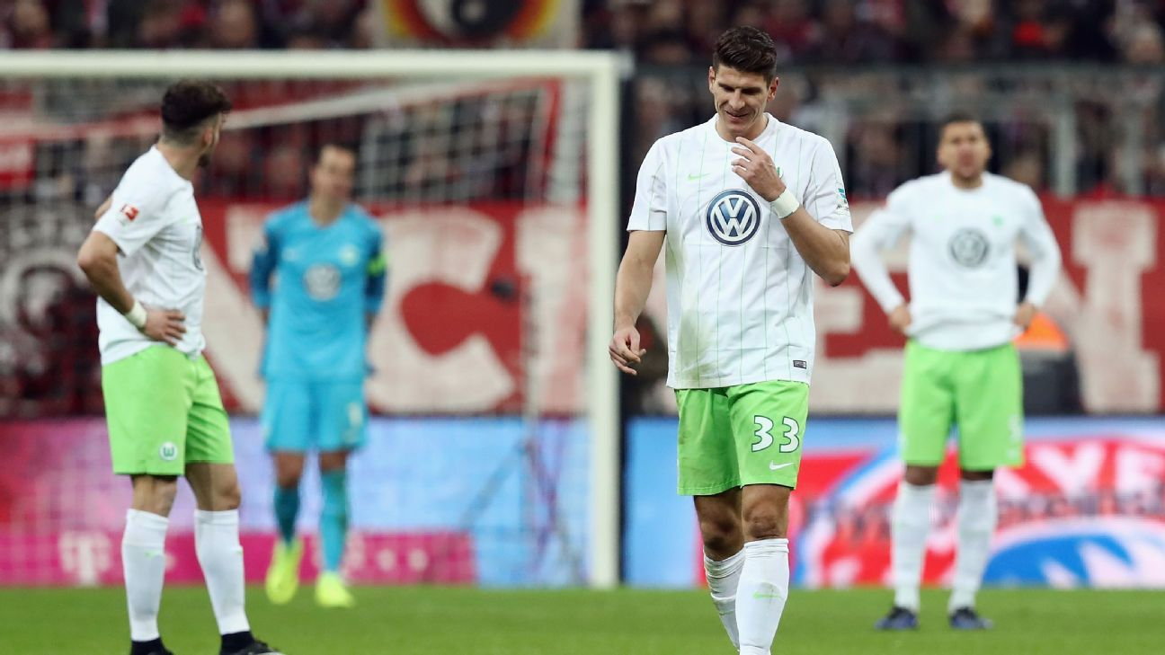 Mario Gomez of Wolfsburg reacts following a Bayern Munich in the Bundesliga.