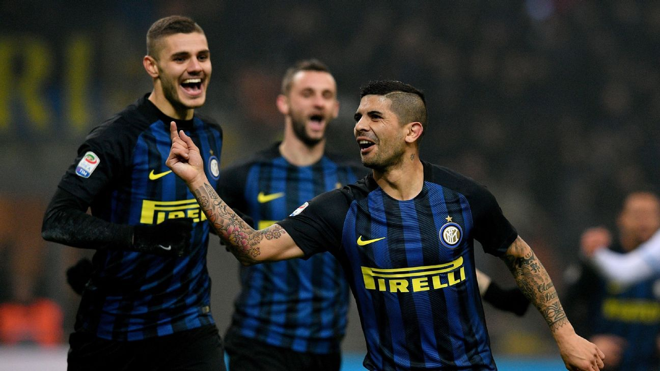 Ever Banega celebrates after scoring for Inter Milan in their Serie A win against Lazio.