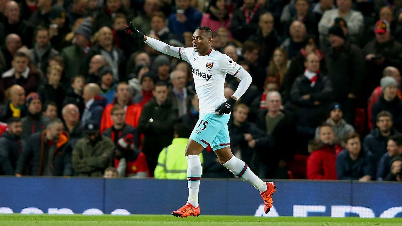 Diafra Sakho celebrates his goal for West Ham United against Manchester United.
