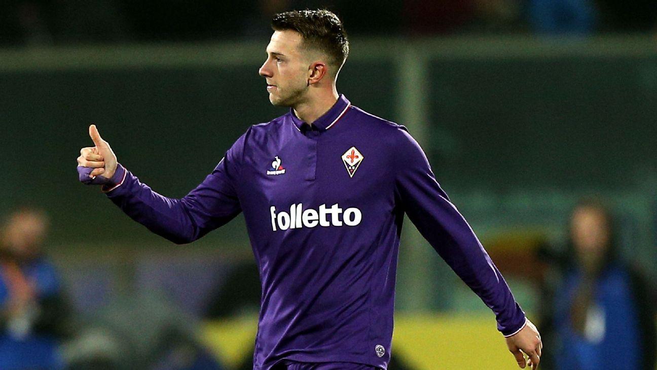 Federico Bernardeschi of Fiorentina celebrates after scoring one of his two goals against Napoli.