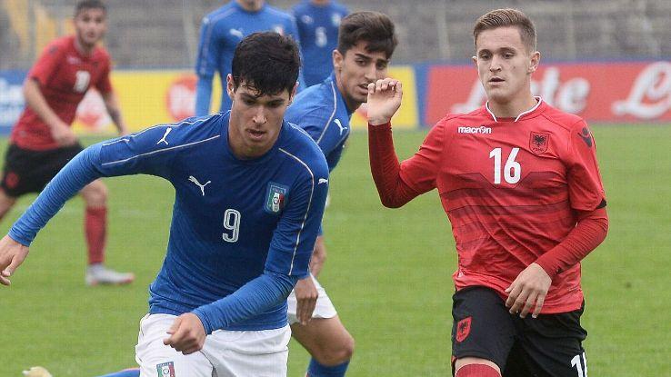Pietro Pellegri plays for Italy under-17s against Albania in October 2016.