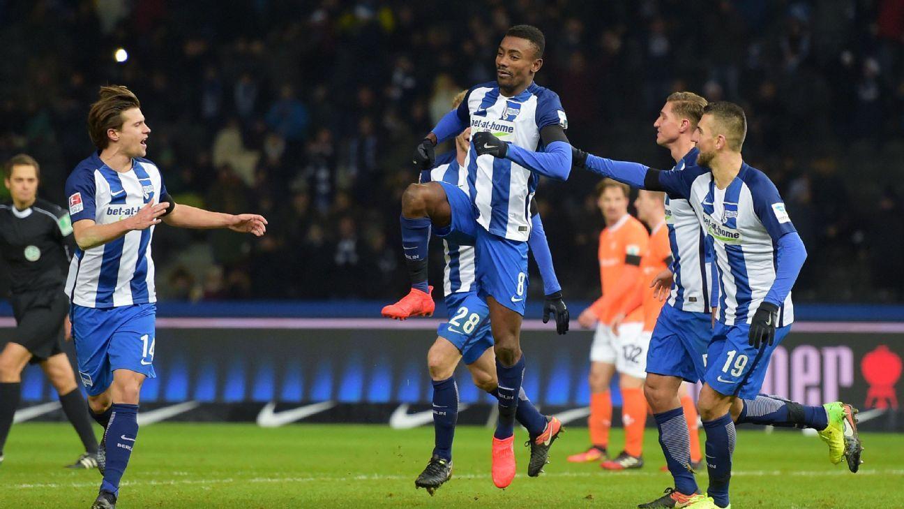 Salomon Kalou celebrates after scoring for Hertha Berlin in their Bundesliga win against Darmstadt.