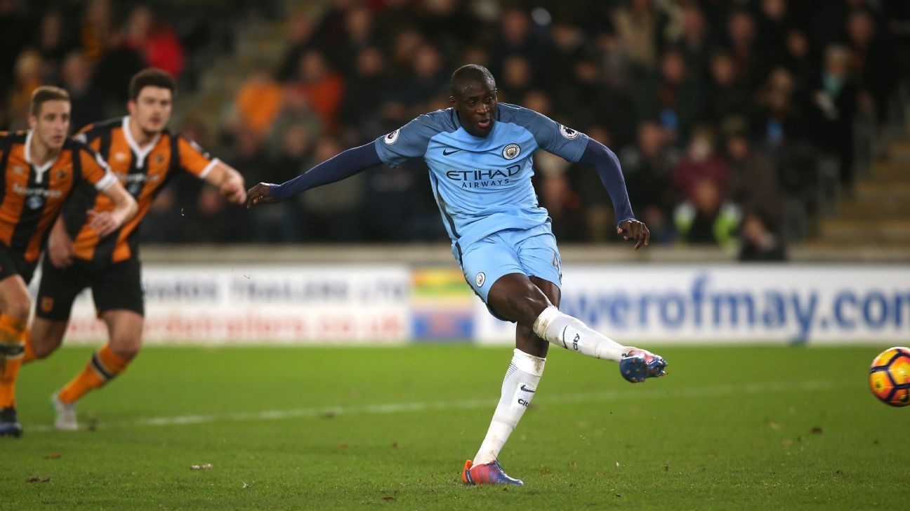 Yaya Toure scored the opener for Man City from the penalty spot.