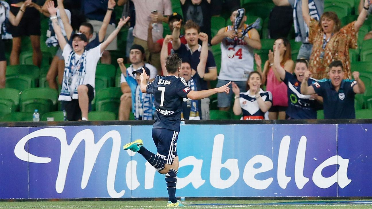 Marco Rojas of the Victory celebrates a goal.