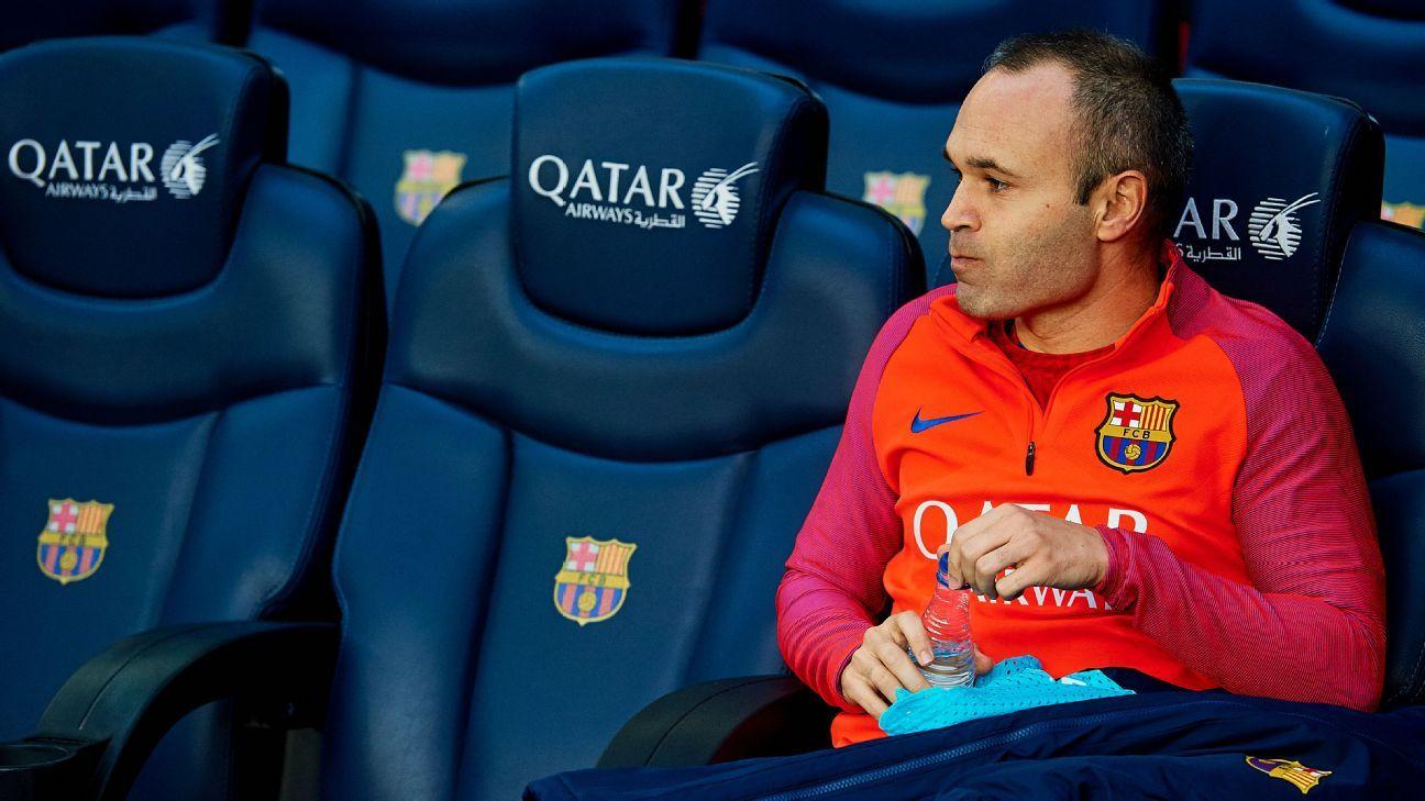Iniesta on Barca bench