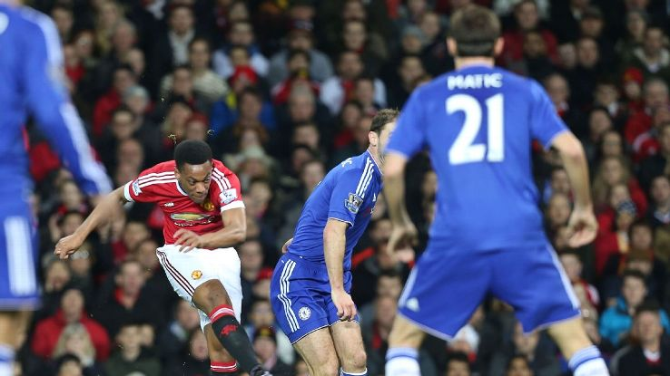 Anthony Martial was Manchester United's most dangerous man in attack against Chelsea.