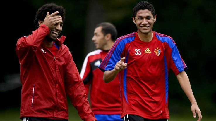 Upon arriving in Switzerland, Elneny, right, was taken under Mohamed Salah's wing while learning the nuances of European football.