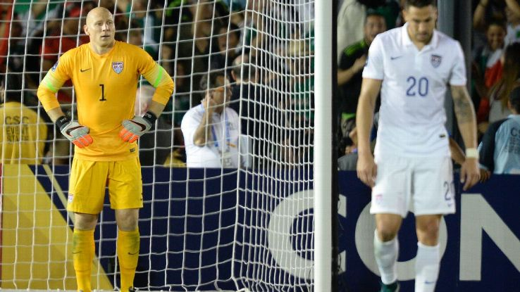 Brad Guzan and the U.S. defense were under pressure all night in October's CONCACAF Cup defeat to Mexico.