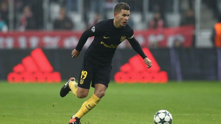 Lucas Hernandez in action for Atletico Madrid against Bayern Munich in the Champions League.