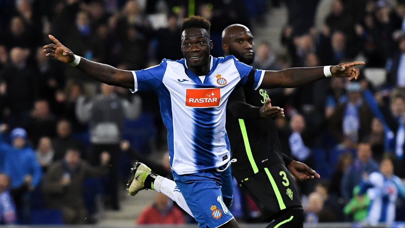 Felipe Caicedo celebrates after scoring a goal for Espanyol against Sporting Gijon in La Liga.