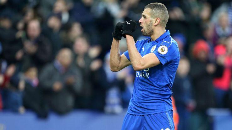 Islam Slimani celebrates his winner for Leicester.