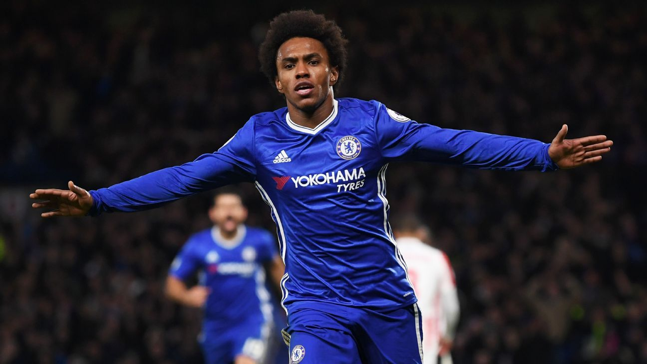 Willian scores the first of his two goals for Chelsea.