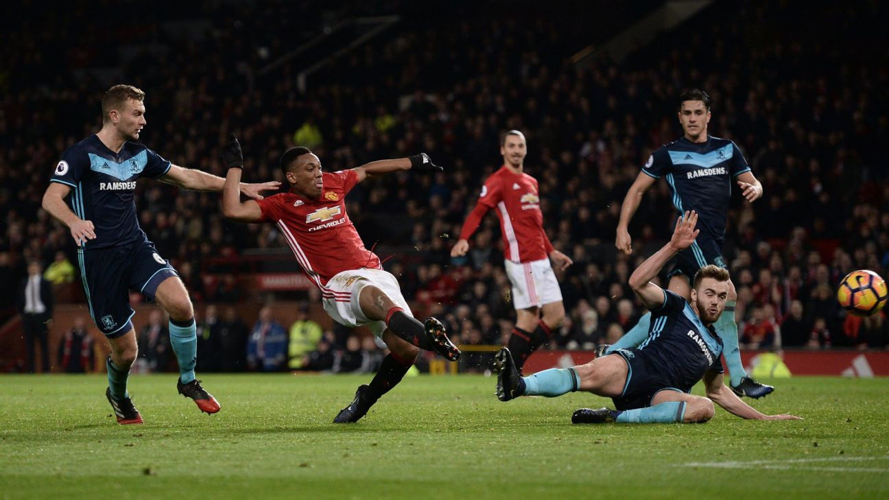Anthony Martial struck Manchester United's equaliser against Middlesbrough.