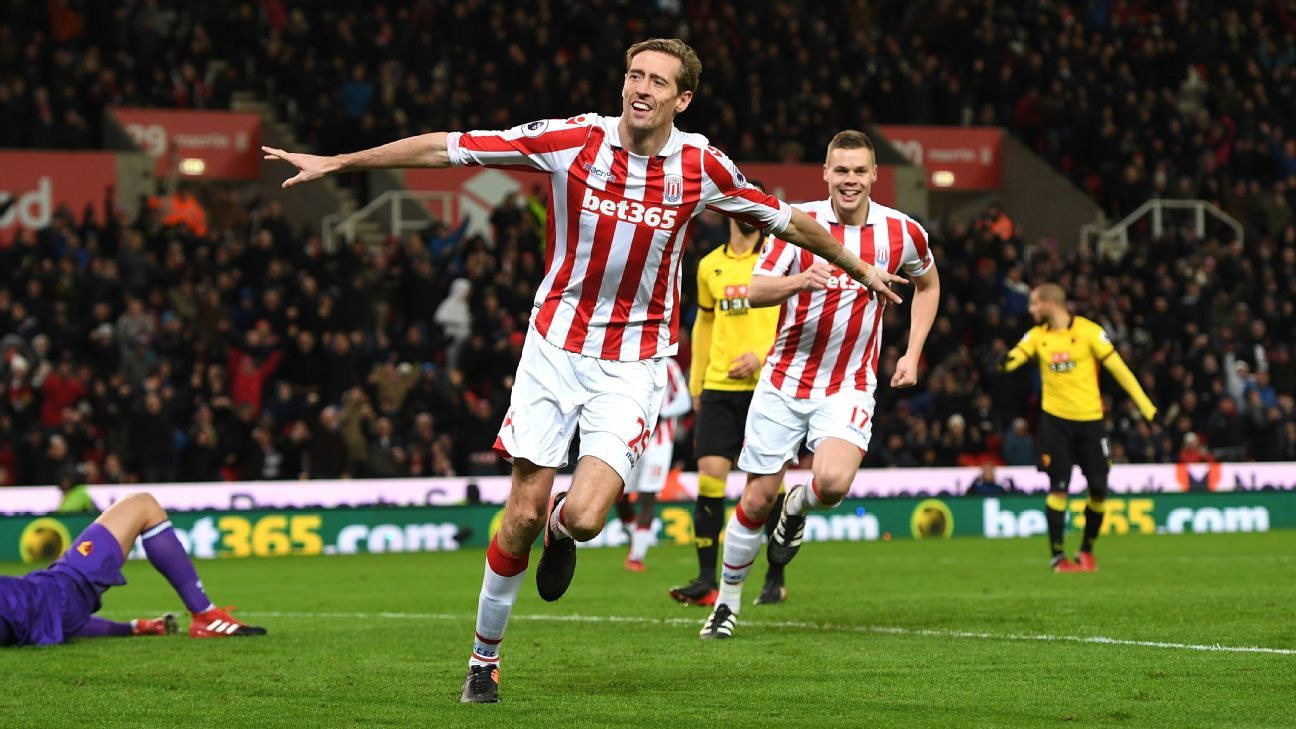 Peter Crouch doubled Stoke's lead shortly after half-time.