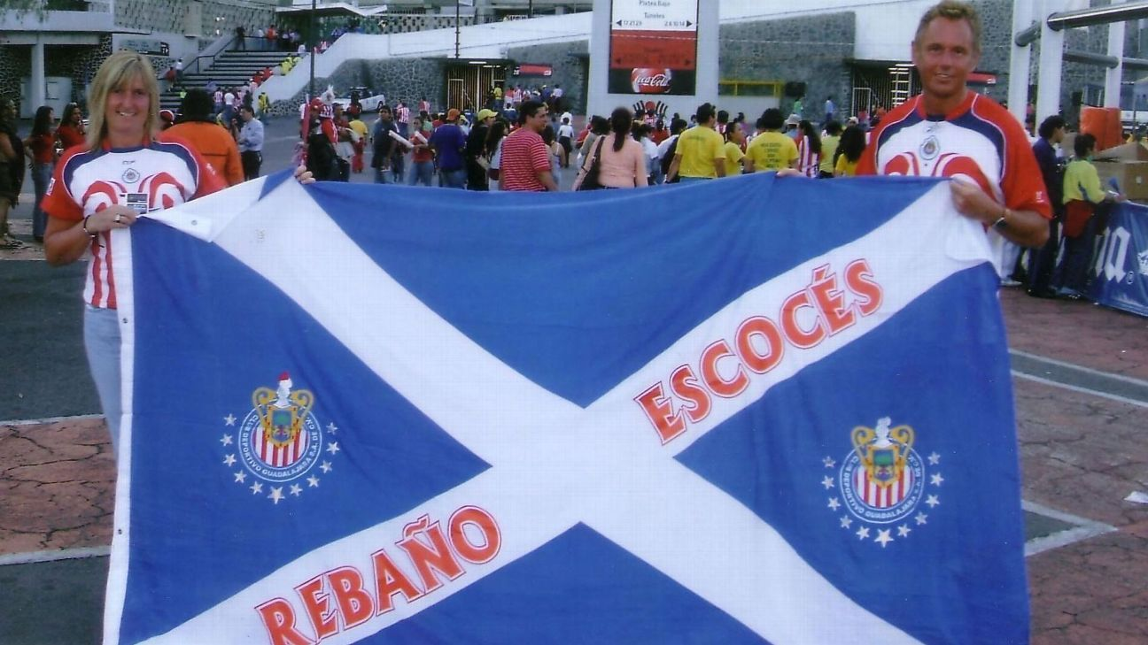 Lynne and Grant Law aren't hard to pick out at Chivas matches, with their Scottish flag bearing the Spanish words that translate to 'The Scottish Flock.'