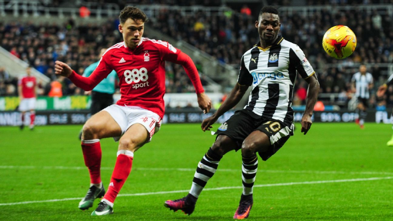 Matty Cash in action for Nottingham Forest against Newcastle United.