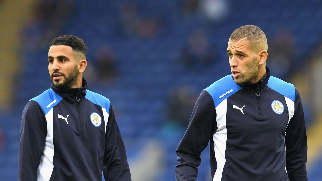 Riyad Mahrez & Islam Slimani of Leicester City