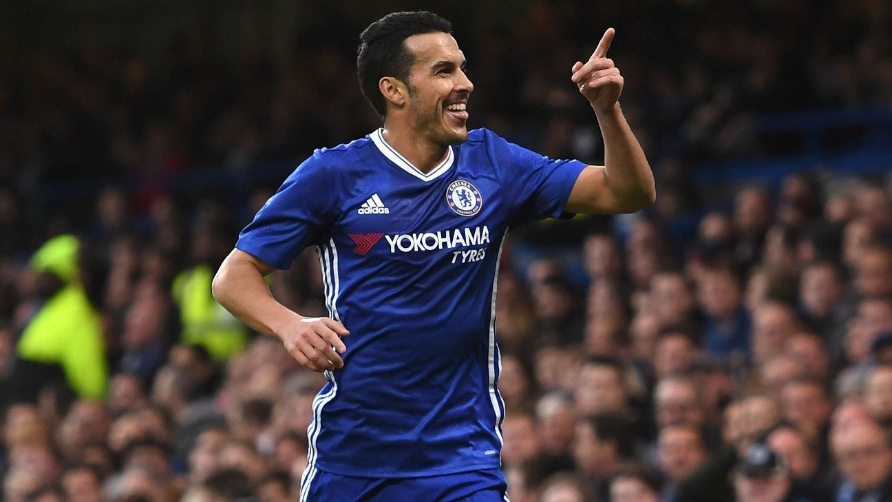 Pedro celebrates during Chelsea's 4-1 win on Sunday.