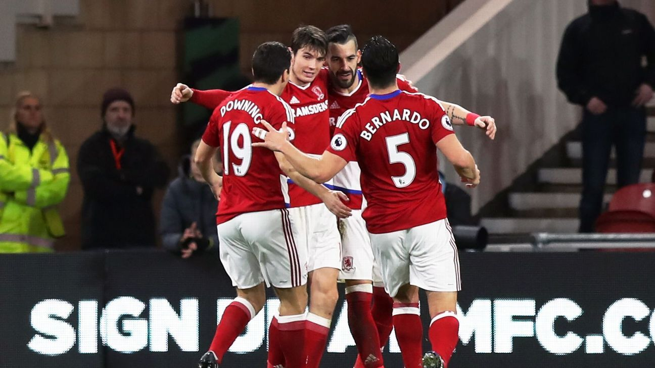 Middlesbrough's Alvaro Negredo, second from right, celebrates scoring his side's second goal on Sunday.