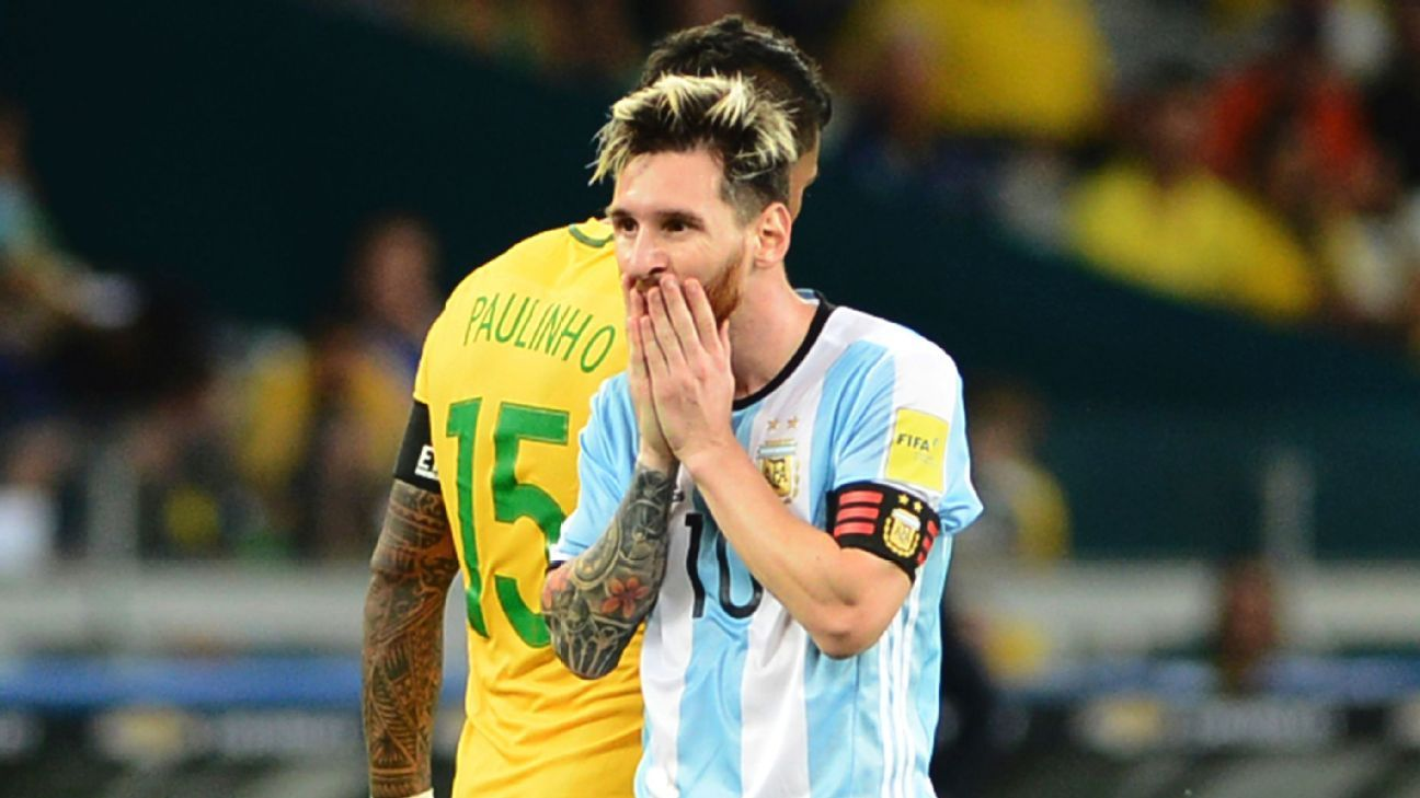 Lionel Messi reacts vs Brazil