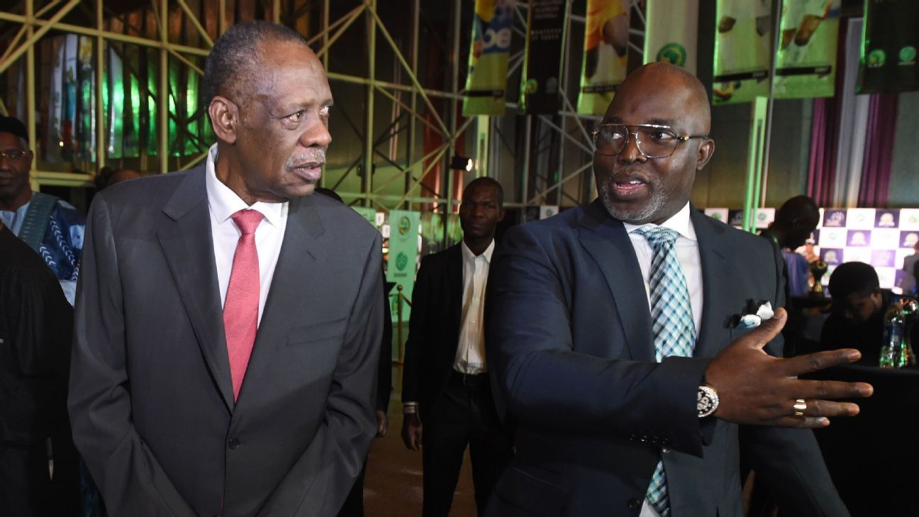 Amaju Pinnick with former CAF president Issa Hayatou