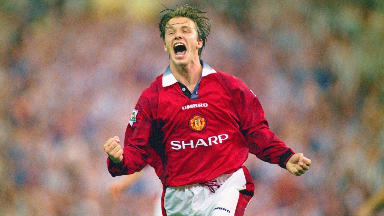 David Beckham celebrates in 1996