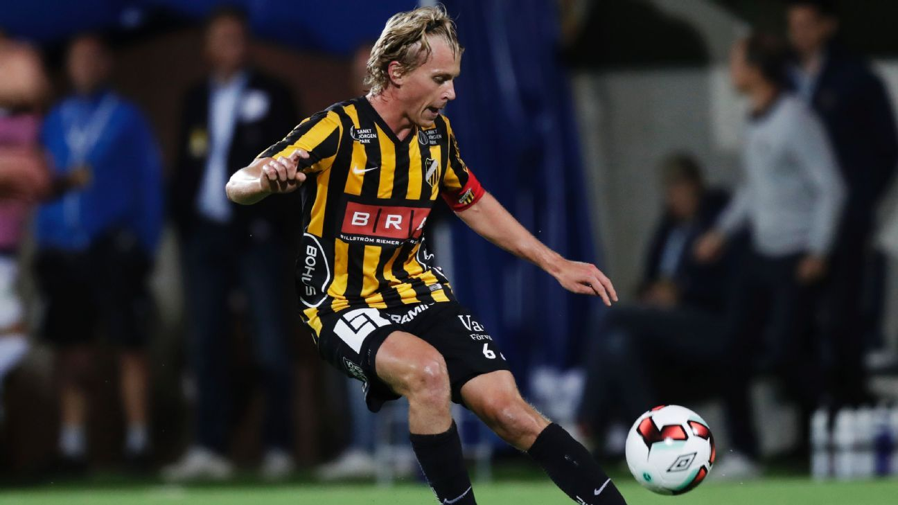 Rasmus Schuller in action for BK Hacken against Gefle IF in a Swedish Allsvenskan match.