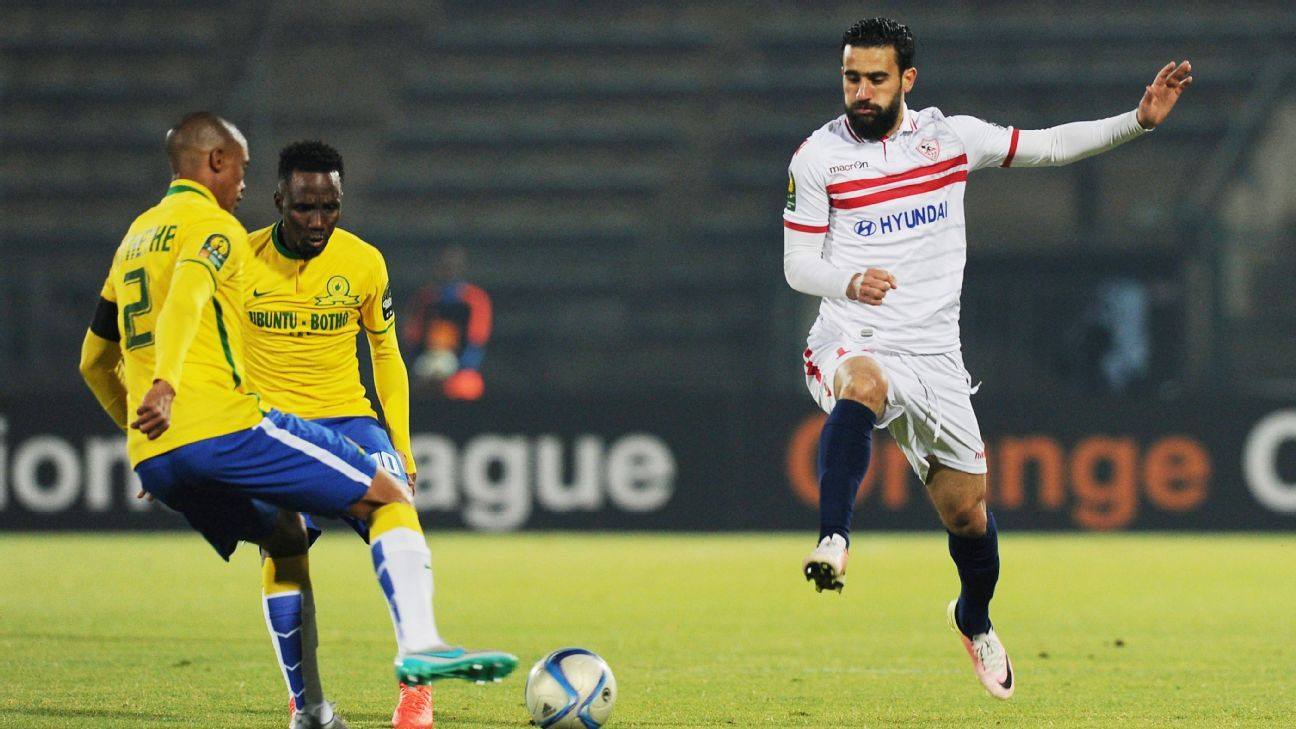 Basem Morsy in action for Zamalek against Mamelodi Sundowns in a CAF2016 Champions League game.