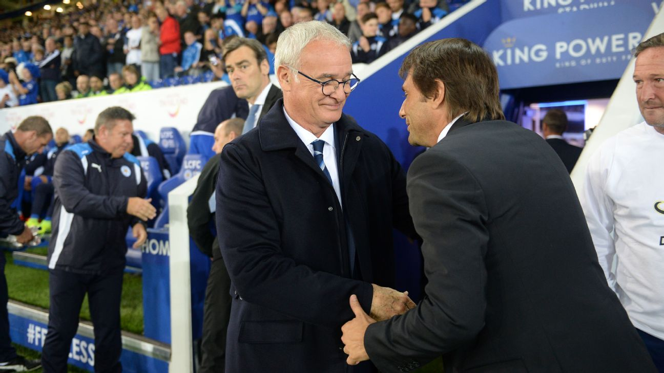 Claudio Ranieri is greeted by Chelsea manager Antonio Conte.