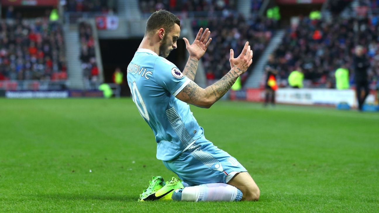 Marko Arnautovic scored twice for Stoke in the victory over Sunderland.