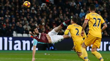 Andy Carroll scores with a bicycle kick in the victory over Crystal Palace.