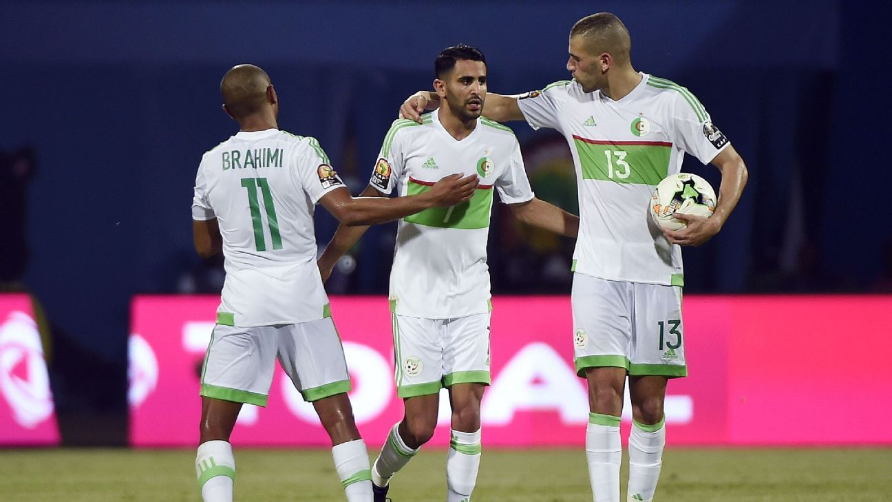 Riyad Mahrez scored twice for Algeria in their African Nations Cup opener.