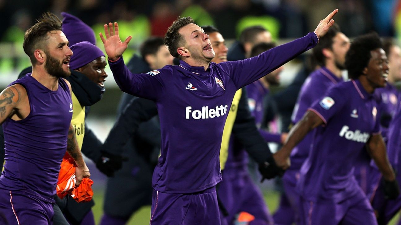 Fiorentina celebrate their defeat of Juventus on Sunday.