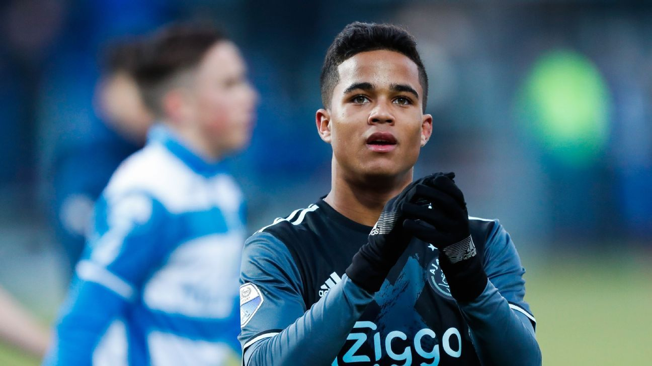 Justin Kluivert of Ajax during the Dutch Eredivisie match against PEC Zwolle.