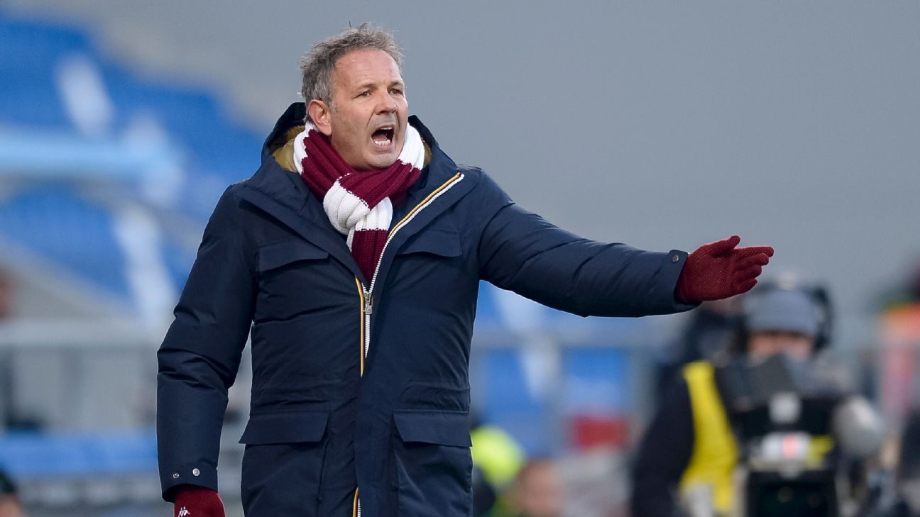 Sinisa Mihajlovic gestures during Torino's Serie A match against Sassuolo.