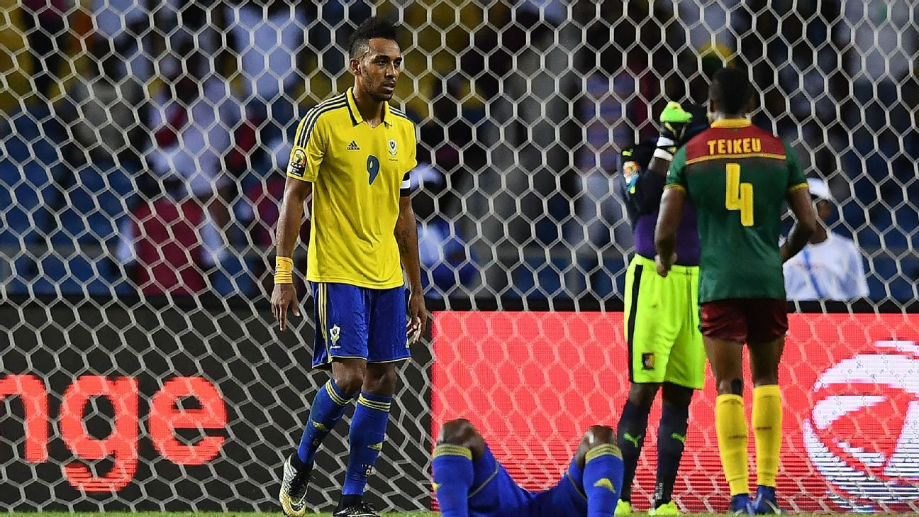 Pierre-Emerick Aubameyang reacts after Gabon drew their third-successive match at the African Nations Cup.