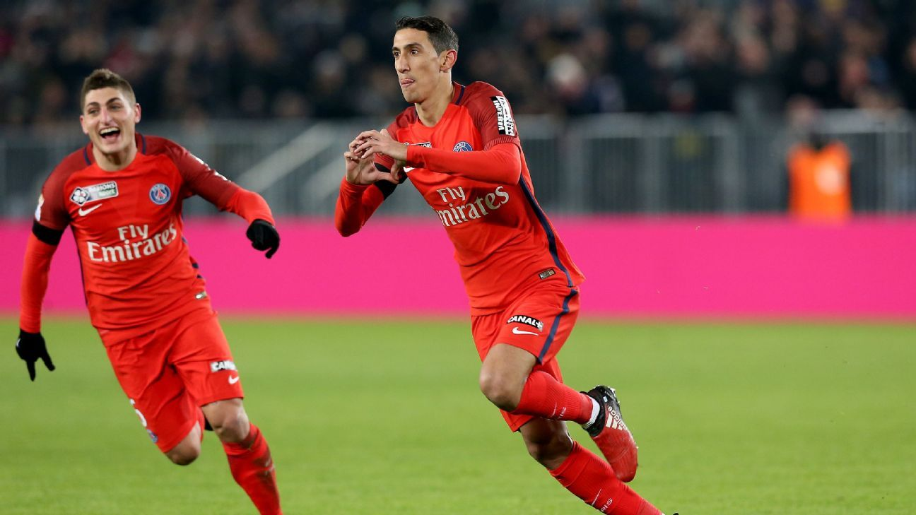 Angel Di Maria celebrates after opening the scoring for PSG in the French Coupe de la Ligue against Bordeaux.