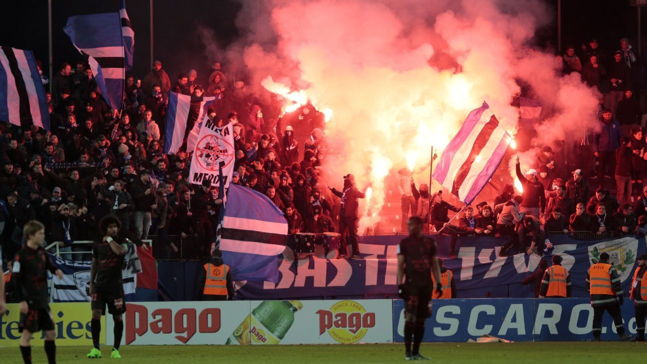 Bastia supporters during the French Ligue 1 game against Nice.