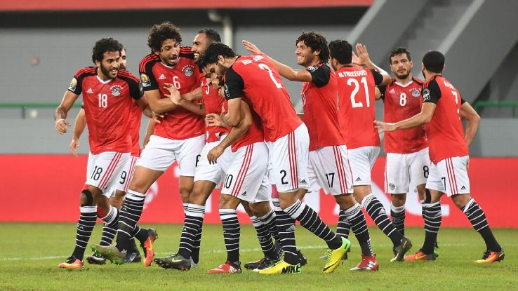 Egypt celebrate Mohamed Salah's goal.