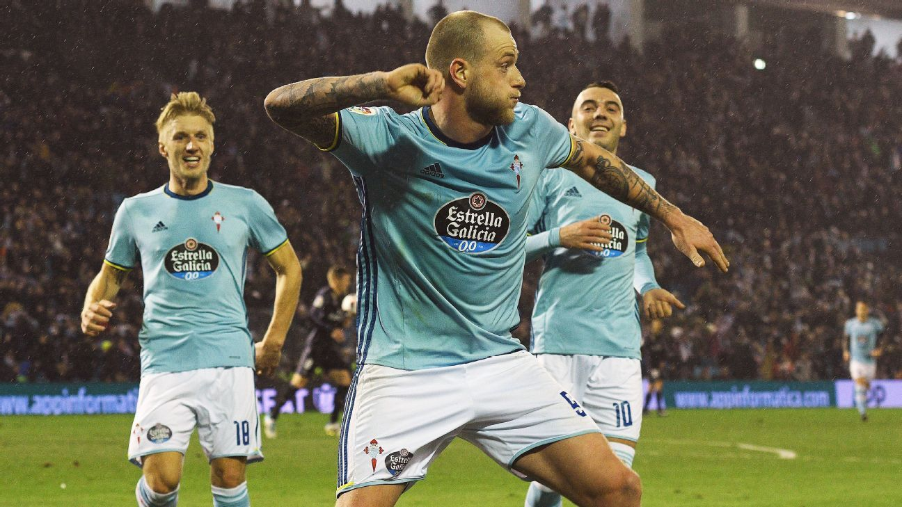 John Guidetti  celebrates after a Danilo own goal put Celta Vigo ahead against Real Madrid.