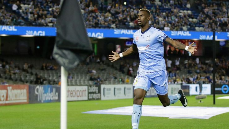 Bernie Ibini-Isei celebrates after scoring Sydney FC's winner against Melbourne Victory.