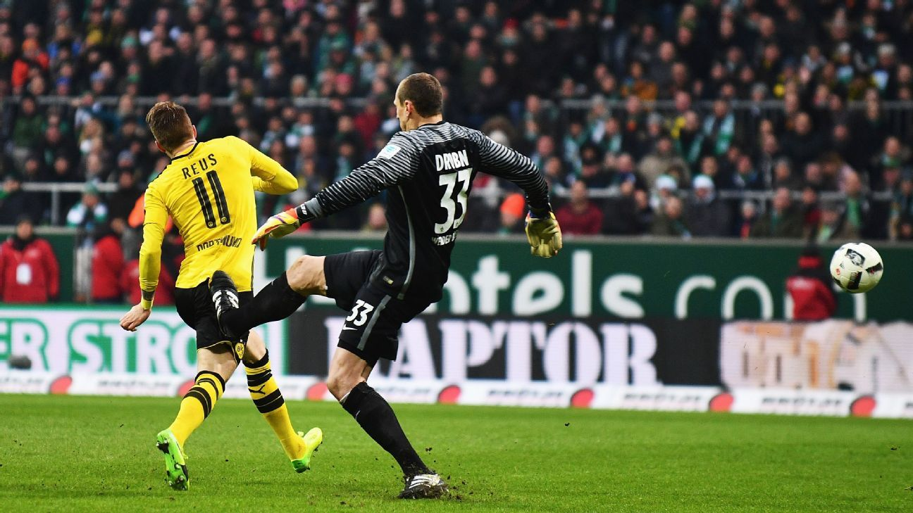 Jaroslav Drobny was sent off for this challenge on Borussia Dortmund's Marco Reus.