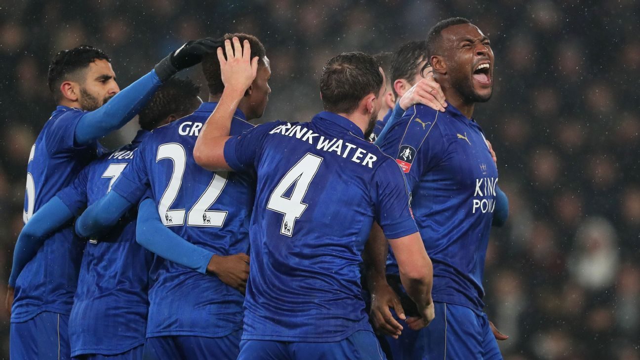 Leicester celebrate their late draw against Derby on Friday.