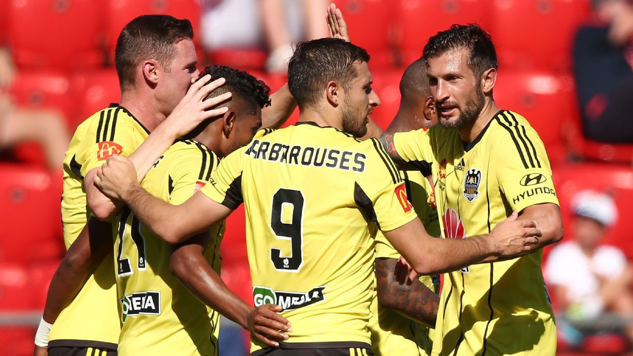 Wellington celebrate Roy Krishna's goal.
