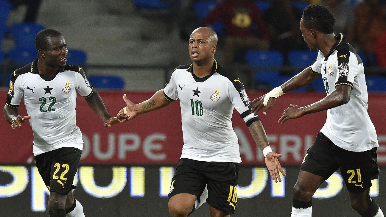 Ghana celebrate Andre Ayew's winner.