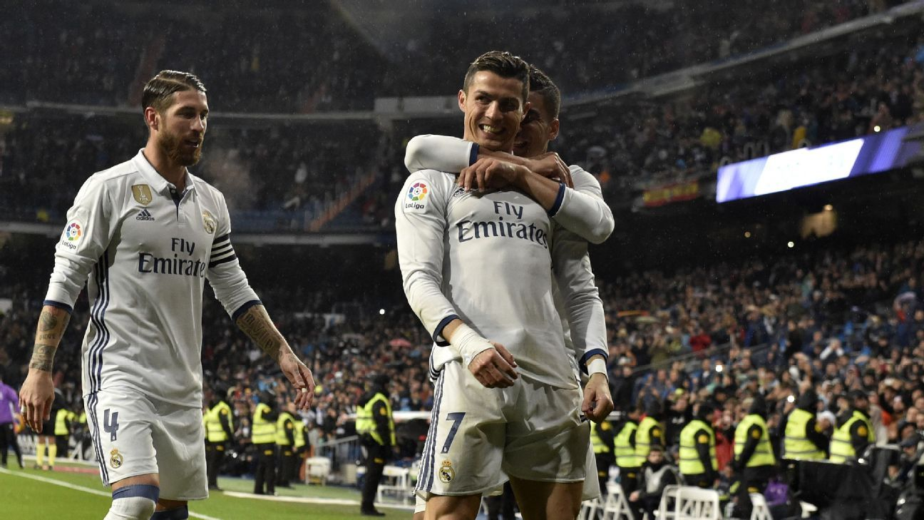 Cristiano Ronaldo celebrates his goal against Real Sociedad on Sunday.