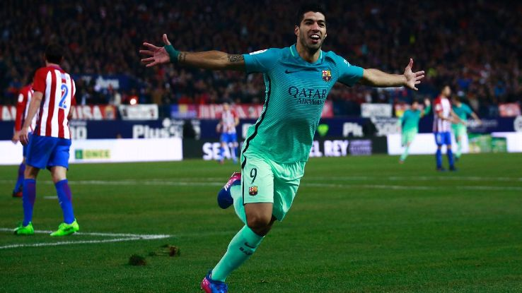 Luis Suarez beat a number of Atletico defenders before scoring his seventh-minute goal.