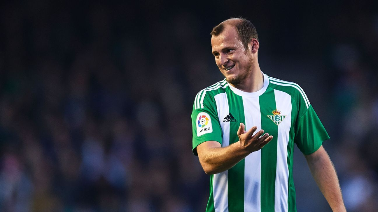 Roman Zozulya of Real Betis Balompie during a La Liga match against Sporting Gijon.