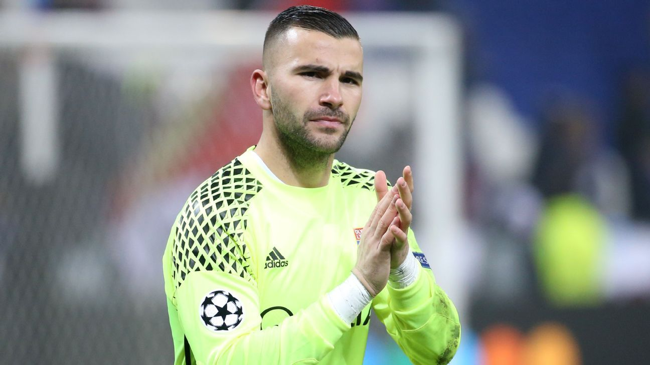 lyon keeper anthony lopes hit with one game ban in dispute over shirt espn fc. Black Bedroom Furniture Sets. Home Design Ideas