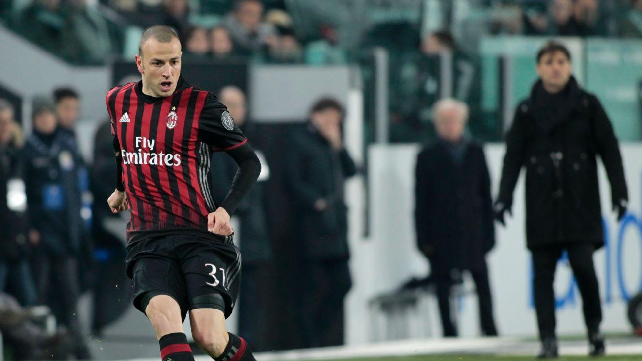 Luca Antonelli in action for AC Milan in the Coppa Italia game against Juventus.